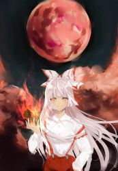 1girl, absurdres, bangs, blunt bangs, bow, breasts, buttons, closed mouth, collared shirt, dark background, eyebrows visible through hair, fire, floating hair, fujiwara no mokou, full moon, hair bow, hand in pocket, hand up, highres, huge filesize, insomnia (lnsomnia0510), light smile, long hair, long sleeves, looking at viewer, moon, orange eyes, pants, pyrokinesis, red moon, red pants, shirt, small breasts, smoke, solo, standing, suspenders, touhou, upper body, very long hair, white bow, white hair, white shirt