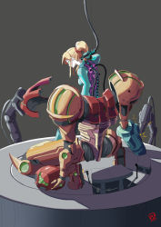 1girl, arm cannon, automatic giraffe, blue bodysuit, blue eyes, bodysuit, breasts, cable, commentary, cyborg, english commentary, from behind, hair ornament, hair scrunchie, headwear removed, helmet, helmet removed, long hair, medium breasts, metroid, neon trim, nintendo, plug, ponytail, power armor, red scarf, repairing, samus aran, scarf, science fiction, scrunchie, sidelocks, solo focus, spine, varia suit, weapon, zero suit