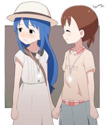 2girls, ^ ^, aayh, akamatsu yui, blue hair, blush, brown eyes, brown hair, brown shirt, closed eyes, closed mouth, collared dress, collared shirt, commentary request, dress, eyes closed, grey background, grey skirt, hand holding, hat, kotoha (mitsuboshi colors), long hair, looking away, looking to the side, mitsuboshi colors, multiple girls, plaid, plaid skirt, profile, shirt, short sleeves, side ponytail, signature, skirt, smile, two-tone background, very long hair, white background, white dress, white headwear