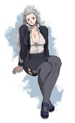 1girl, breasts, dorohedoro, formal, garter straps, hair between eyes, high heels, highres, long hair, looking at viewer, miniskirt, muscular, muscular female, noi (dorohedoro), office lady, pencil skirt, red eyes, skirt, skirt suit, solo, suit, thighhighs, uei (uei73661268), white hair