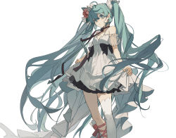 1girl, absurdres, ahoge, aqua eyes, aqua hair, bare shoulders, black bow, blue flower, bow, detached sleeves, dress, dress bow, eyebrows behind hair, feet out of frame, floating hair, flower, frilled dress, frills, hair flower, hair ornament, hairband, hatsune miku, highres, leg ribbon, long hair, neck ribbon, pink flower, pink ribbon, puffy sleeves, ribbon, see-through sleeves, short dress, single thighhigh, skirt hold, sleeveless, sleeveless dress, solo, spaghetti strap, striped, striped ribbon, thighhighs, twintails, very long hair, vocaloid, white background, white dress, white hairband, white legwear, zhibuji loom