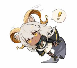 !, 1girl, animal ears, arknights, beeswax (arknights), belt buckle, black footwear, black jacket, buckle, chibi, commentary, dark-skinned female, dark skin, dress, english commentary, falling, full body, goat ears, goat girl, goat horns, horns, jacket, medium hair, motion lines, open clothes, open jacket, open mouth, revision, simple background, solo, spacelongcat, speech bubble, spoken exclamation mark, tripping, white background, white dress, white hair, yellow eyes