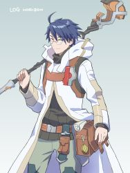 1boy, ahoge, belt pouch, black shirt, blue eyes, blue hair, copyright name, glasses, grey background, highres, holding, holding weapon, hood, hood down, light smile, log horizon, long sleeves, male focus, pants, pouch, robe, scroll, shiroe, shirt, simple background, solo, staff, standing, tetena18, weapon
