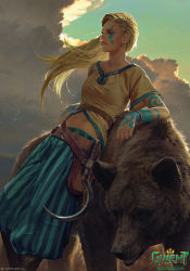 1girl, akreon, animal, bear, belt, blonde hair, blue pants, blue sky, boots, breasts, brown belt, brown footwear, cloud, collarbone, collarless shirt, commentary, copyright name, cropped shirt, english commentary, facial mark, gedyneith flaminica, gwent (game), highres, leaning back, long hair, looking away, midriff, navel, official art, outdoors, pants, parted lips, shadow, short sleeves, sickle, sky, smile, solo, standing, stomach, striped, striped pants, sunlight, the witcher, wind, wristwear