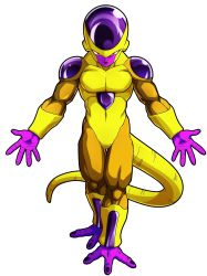 10s, 1boy, alien, colored skin, dragon ball, dragon ball fighterz, dragon ball super, frieza, full body, golden frieza, halo, highres, looking at viewer, muscular, nail polish, official art, purple nails, purple skin, red eyes, smile, solo, tail, transparent background, yellow skin