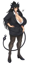 1girl, absurdres, airisubaka, artist name, black hair, black horns, black skirt, black tail, borrowed character, breasts, cassandra asmolith (cass sakyubasu), cleavage, commission, demon girl, demon tail, earrings, full body, gigantic breasts, gold earrings, hand on hip, highres, horns, huge breasts, jewelry, long hair, office lady, original, pantyhose, pencil skirt, pointy ears, ponytail, red eyes, shirt, signature, skirt, sleeves rolled up, smile, solo, standing, tail, thighs, unbuttoned, unbuttoned shirt, white background, white shirt
