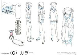 1girl, ass, bare legs, barefoot, breasts, character sheet, closed mouth, evangelion: 3.0+1.0 thrice upon a time, eyebrows visible through hair, eyepatch, floating hair, full body, hair between eyes, hands in pockets, highres, hood, hoodie, interface headset, legs apart, long hair, looking at viewer, looking to the side, monochrome, multiple views, neon genesis evangelion, no pants, official art, panties, rebuild of evangelion, sandals, shiny, simple background, soryu asuka langley, standing, toes, translation request, tsundere, twintails, two side up, underwear, white background