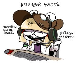 1girl, :d, bangs, based (meme), blonde hair, brown headwear, can, commentary, desk, english commentary, english text, eyebrows visible through hair, hair ribbon, hair tubes, half-closed eyes, hat, headset, holding, holding can, keyboard (computer), long sleeves, looking at viewer, medium hair, monster energy, moriya suwako, mouse (computer), open mouth, peachems (gemu), pointing, pointing at viewer, purple vest, red ribbon, ribbon, smile, solo, touhou, turtleneck, vest, wide sleeves