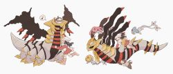 1girl, azelf, bag, beanie, black hair, boots, coat, creatures (company), dawn (pokemon), duffel bag, eyes closed, floating hair, game freak, gen 4 pokemon, giratina, giratina (altered), giratina (origin), hat, highres, legendary pokemon, long hair, long sleeves, mesprit, musical note, nap (eevlll), nintendo, open mouth, over-kneehighs, pink footwear, pokemon, pokemon (creature), pokemon (game), pokemon dppt, pokemon platinum, riding pokemon, scarf, simple background, spoken musical note, starly, symbol commentary, thighhighs, uxie, white background, white bag, white headwear, white legwear, white scarf