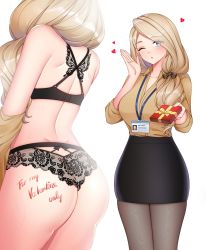 Rule 34 | 1girl, ass, banglinh1997, blonde hair, blue eyes, bra, breasts, dress shirt, fire emblem, fire emblem: three houses, formal, highres, id card, lace, lace bra, lace panties, lanyard, large breasts, long hair, long sleeves, looking at viewer, mature, mercedes von martritz, multiple views, nintendo, office lady, one eye closed, open mouth, panties, pantyhose, shirt, skirt suit, suit, underwear