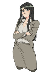 1girl, black hair, black legwear, business suit, closed mouth, collared shirt, copyright request, cropped legs, crossed arms, formal, grey eyes, grey jacket, grey shirt, grey skirt, jacket, long sleeves, looking at viewer, office lady, pantyhose, ruukii drift, shirt, simple background, skirt, skirt suit, solo, standing, suit, taut clothes, taut skirt, white background, wing collar