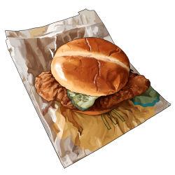 bag, bread, bread bun, cucumber, cucumber slice, food, food focus, hamburger, mcdonald's, meat, no humans, original, paper bag, pastry, realistic, simple background, still life, studiolg, vegetable, white background