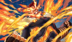 1boy, 4o080 yotabnc, abs, action, beard, boku no hero academia, clenched teeth, commentary request, constricted pupils, facial hair, fiery background, fiery hair, fighting stance, fire, flaming eye, highres, male focus, muscular, mustache, skin tight, solo, spiked hair, teeth, todoroki enji