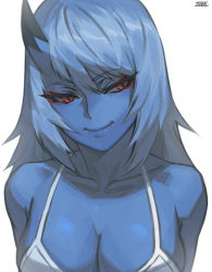 1girl, blue hair, blue oni, blue skin, bra, breasts, cleavage, closed mouth, colored skin, eyeshadow, hair between eyes, horns, kimiko (zakusi), large breasts, long hair, makeup, oni, oni horns, original, red eyes, signature, simple background, single horn, slit pupils, smile, solo, underwear, upper body, white background, white bra, zakusi