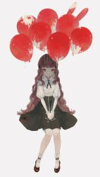 1girl, balloon, bangs, black bow, black skirt, blood, blood splatter, bloody clothes, bloody hair, blunt bangs, bow, brown footwear, brown hair, closed mouth, dripping, film grain, fingernails, frills, grey background, highres, invisible chair, long hair, looking at viewer, nail polish, nanaju ko, original, puffy sleeves, red eyes, red nails, sitting, skirt, smile, solo