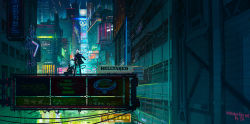 2girls, artist name, building, chinese commentary, chinese text, city lights, cityscape, commentary, copyright name, demon girl, demon horns, demon tail, english commentary, english text, formal, helltaker, highres, horns, jacket, jacket on shoulders, justice (helltaker), korean text, long hair, lucifer (helltaker), mixed-language commentary, multiple girls, neon lights, night, outdoors, pant suit, ponytail, scenery, science fiction, sign, sitting, standing, suit, tail, white hair, z4 (546455792)