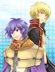 2boys, :d, armor, bangs, bare pecs, black coat, blonde hair, blue background, brown eyes, cape, closed mouth, coat, commentary request, cross, cross necklace, crusader (ragnarok online), jewelry, long sleeves, looking at viewer, looking to the side, male focus, multiple boys, necklace, open clothes, open coat, open mouth, pauldrons, priest (ragnarok online), purple cape, purple eyes, purple hair, ragnarok online, red coat, retgra, short hair, shoulder armor, smile, tabard, two-tone coat, upper body