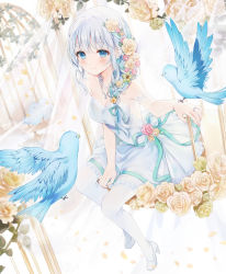 a20 (atsumaru), bangs, bare shoulders, bird, birdcage, blue eyes, blush, braid, breasts, cage, character name, cleavage, closed mouth, copyright request, dress, eyebrows visible through hair, flower, green ribbon, hair flower, hair ornament, hair ribbon, high heels, highres, jewelry, light blue hair, long hair, necklace, official art, pantyhose, ribbon, ring, rose, sitting, smile, wedding ring, white footwear, white legwear