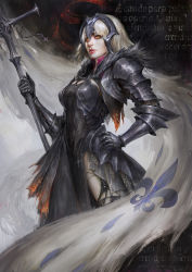 1girl, armor, armored dress, bangs, banner, black background, black dress, black legwear, blonde hair, burnt clothes, cape, chainmail, chains, commentary, cross, daniel kamarudin, dark background, dress, eclipse, english commentary, eyebrows behind hair, fate/grand order, fate (series), faulds, flag, fleur de lis, fur-trimmed cape, fur collar, fur trim, gauntlets, glowing, glowing eyes, hand on hip, hand up, headpiece, highres, holding, holding staff, impossible clothes, jeanne d'arc (alter) (fate), jeanne d'arc (fate) (all), latin text, lips, looking at viewer, nose, orange eyes, parted lips, realistic, red lips, red sun, short hair, shoulder armor, silver hair, solo, spaulders, staff, standard bearer, torn clothes, torn legwear, yellow eyes