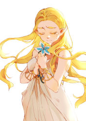 1girl, absurdres, bangs, blonde hair, blue flower, bracelet, closed mouth, commentary, dress, eyes closed, flower, highres, holding, holding flower, jewelry, long hair, nintendo, off-shoulder dress, off shoulder, parted bangs, pointy ears, princess zelda, shuangsen, simple background, sleeveless, sleeveless dress, solo, standing, tears, the legend of zelda, the legend of zelda: breath of the wild, thick eyebrows, white background, white dress