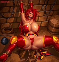 Rule 34 | 1girl, ankle cuffs, armpits, arms up, ball and chain restraint, barrel, battle chasers, bdsm, bondage, boots, bound, bound ankles, bound wrists, bounded, bounded ankles, bounded wrists, breasts, bursting breasts, butt crack, cameltoe, captured, chains, character name, choker, cleavage, cleft of venus, collarbone, covered erect nipples, covered pussy, deviantart username, dungeon, earrings, elbow gloves, eyebrows, eyelashes, eyeshadow, facing viewer, gag, gagged, gloves, green eyes, gumroad username, headband, helpless, high heel boots, high heels, highres, hoop earrings, huge breasts, huge cleavage, huge hips, huge legs, huge nipples, jewelry, legs apart, lips, lipstick, long boots, long hair, looking at viewer, makeup, mascara, mouth gag, nipples, open mouth, open mouth gag, patreon username, pussy, red choker, red eyebrows, red eyeshadow, red footwear, red gloves, red hair, red headband, red high heels, red lips, red monika, restrained, rope, shiny, shiny clothes, shiny face, shiny hair, shiny skin, shocked expression, shocked face, spread legs, stretch, submissive female, svoidist, thick thighs, thigh boots, thighhighs, thighs, thin eyebrows, tongue, trapped, very long hair, watermark, web address, wide hips, wrist cuffs
