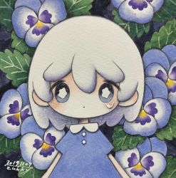 1girl, blue dress, blue eyes, blue flower, bright pupils, dated, dress, flower, highres, leaf, looking at viewer, medium hair, original, pansy, plant, short sleeves, signature, solo, tears, traditional media, upper body, white hair, white pupils, zukky000