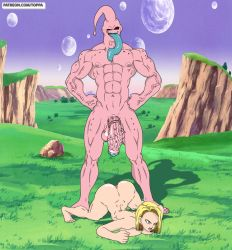 Rule 34   1boy, 1girl, absurdres, android 18, anus, ass, ass up, big-breasts, big cock, big penis, blonde hair, breasts, butthole, buu, c18, colored skin, dragon ball, dragonball z, highres, holes, huge ass, huge nipples, huge penis, large breasts, looking down, majin buu, muscular, muscular male, nipples, penis, pink skin, standing, veins, veiny, veiny penis