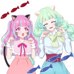 2girls, :d, :o, ^ ^, ^o^, aikatsu! (series), aikatsu planet!, animal ears, ann (aikatsu!), aqua eyelashes, artist name, bangs, blue hair, blue skirt, blunt bangs, blush, bow, bowtie, braid, cat day, cat ears, cat tail, chisaca, closed eyes, colored eyelashes, commentary request, diamond (symbol), drawn ears, drawn tail, drawn whiskers, dress, eyebrows visible through hair, eyes closed, facing viewer, fish, green hair, green neckwear, hands up, high-waist skirt, highres, kurimu an, long hair, looking at another, loose bowtie, multicolored, multicolored eyes, multicolored hair, multiple girls, neck ribbon, open mouth, paw pose, pink dress, pink eyes, pink hair, pink ribbon, purple eyes, q-pit, ribbon, shirt, simple background, skirt, smile, streaked hair, tail, tsukishiro ayumi, twin braids, twintails, two side up, upper body, very long hair, white background, white shirt, wrist cuffs