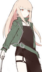 1girl, black skirt, blonde hair, character request, closed mouth, cross, cross earrings, earrings, eyebrows visible through hair, feet out of frame, ff frbb122, girls frontline, green jacket, highres, holding, jacket, jewelry, long hair, looking away, open clothes, open jacket, orange eyes, serious, skirt, solo, standing, white background
