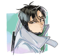 1boy, apex legends, black eyes, black hair, cropped torso, crypto (apex legends), cyborg, expressionless, from above, grey jacket, husagin, jacket, looking back, male focus, parted hair, science fiction, solo, upper body