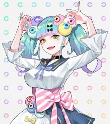 :d, arms up, bangs, black bow, black choker, blue hair, blush, bow, breasts, brown eyes, choker, collared dress, commentary request, copyright request, diagonal stripes, dress, eyeball hair ornament, eyebrows visible through hair, facial mark, fangs, grey background, hair bow, heart, highres, landolt c, long sleeves, looking at viewer, medium breasts, multicolored, multicolored hair, multicolored nails, nail polish, open mouth, pale skin, pink nails, purple hair, purple nails, ram (ramlabo), simple background, smile, striped, striped bow, twintails, two-tone hair, virtual youtuber, white dress, wide sleeves, yellow bow