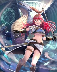 1girl, absurdres, bangs, bike shorts, black gloves, black shorts, blush, boots, breasts, brown gloves, dragon, eyebrows visible through hair, floating hair, flower, from below, gloves, hair between eyes, hair flower, hair ornament, highres, holding, holding sword, holding weapon, knee boots, long hair, looking at viewer, magic circle, medium breasts, midriff, navel, open mouth, original, red hair, shiny, shiny hair, short shorts, shorts, solo, standing, stomach, sword, underboob, wander00317 (akihirotanisi), weapon, white flower