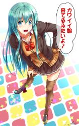 1girl, ;d, aqua hair, bent over, blazer, blue eyes, breasts, brown legwear, brown skirt, cardigan, floor, frilled skirt, frills, grey footwear, hair ornament, hairclip, hand on hip, highres, jacket, kantai collection, legs, multicolored, one-hour drawing challenge, one eye closed, open mouth, sakaki maki, school uniform, skirt, smile, solo, speech bubble, suzuya (kancolle), thighhighs, tongue, translation request