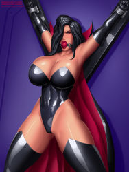 Rule 34 | 1girl, armpit, arms at sides, arms up, ball gag, bare shoulders, battletoads, bdsm, black gloves, black hair, black legwear, black leotard, bondage, bound, bounded, bounded wrists, breasts, bursting breasts, cameltoe, cape, cleavage, cleavage cutout, cleft of venus, clothing cutout, collar, collarbone, curvy, dark queen, dark queen (battletoads), deviantart username, dominatrix, elbow gloves, eyeliner, eyeshadow, female focus, gag, gagged, gloves, gumroad username, hair over one eye, highres, huge breasts, latex, latex gloves, latex leotard, legs apart, leotard, lips, lipstick, looking at viewer, makeup, one eye covered, patreon username, red collar, red lips, restrained, revealing clothes, shiny, shiny skin, spread legs, svoidist, wrist cuffs