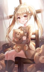 1girl, :o, absurdres, animal ears, blonde hair, danyo (chung0226), feet out of frame, hair intakes, highres, holding, holding stuffed toy, indoors, long hair, looking at viewer, orange eyes, original, parted lips, pointy ears, sitting, solo, stuffed animal, stuffed toy, teddy bear, twintails, window