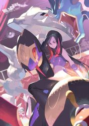 2girls, artist name, black hair, character request, closed mouth, creatures (company), crop top, e volution, eyelashes, eyeshadow, frontier brain, game freak, gen 1 pokemon, gen 2 pokemon, gen 3 pokemon, gloves, green hair, gyarados, lipstick, looking down, lucy (pokemon), makeup, milotic, multicolored hair, multiple girls, nintendo, pants, pokemon, pokemon (creature), pokemon (game), pokemon emerald, pokemon rse, purple eyeshadow, red eyes, seviper, shiny, shuckle, smile, steelix