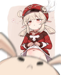 Rule 34   1girl, :o, bangs, blonde hair, blurry, blurry background, blush, convenient censoring, convenient head, dodoco (genshin impact), dress, dress lift, eyebrows visible through hair, feathers, floral print, genshin impact, hat, hat feather, kento0131, klee (genshin impact), lifted by self, long hair, long sleeves, looking at viewer, low twintails, navel, no panties, open mouth, pink background, pointy ears, red dress, red eyes, red headwear, standing, stomach, tied hair, twintails, upper body, white background