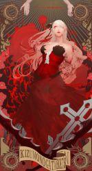 Rule 34 | 1girl, absurdres, amputee, black ribbon, blonde hair, blood, blood on arm, bloody hair, breasts, cleavage, cross, dress, guro, hair ribbon, hand up, highres, injury, kiss-shot acerola-orion heart-under-blade, kizumonogatari, large breasts, long dress, long hair, monogatari (series), red dress, red lips, ribbon, severed arm, severed limb, shishirui san, solo, tears, vampire