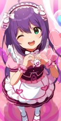 1girl, ;d, apron, blurry, blush, commentary, dress, frilled apron, frills, from above, full body, green eyes, heart, heart hands, highres, idolmaster, idolmaster million live!, indoors, inuyama nanami, layered skirt, long hair, maid, maid headdress, mochizuki anna, one eye closed, open mouth, pantyhose, pink background, pink dress, puffy sleeves, purple hair, skirt, smile, solo, upper teeth, white legwear