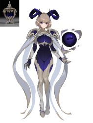 1girl, absurdres, animal feet, blue eyes, bodysuit, breasts, eyebrows visible through hair, full body, goat girl, goat horns, highres, horizontal pupils, horns, jason kim, korean commentary, looking at viewer, medium breasts, original, pointy ears, reference photo inset, simple background, solo, white background