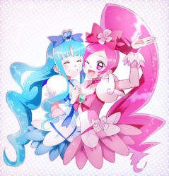 2girls, blue background, blue choker, blue dress, brooch, cherry hair ornament, choker, cure blossom, cure marine, dress, earrings, eyes closed, food themed hair ornament, hair ornament, hanasaki tsubomi, heart, heartcatch precure!, highres, jewelry, komanana320, long hair, magical girl, multiple girls, one eye closed, open mouth, pink choker, pink dress, pink eyes, ponytail, precure, puffy sleeves, smile, star (symbol), starry background, upper body, wavy hair, white dress