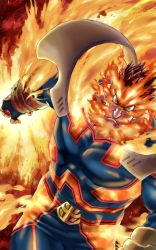1boy, 4o080 yotabnc, abs, action, attack, beard, boku no hero academia, commentary request, constricted pupils, facial hair, fiery background, fiery hair, fire, highres, male focus, muscular, muscular male, mustache, pectorals, scar, scar on face, scowl, skin tight, solo, spiked hair, todoroki enji