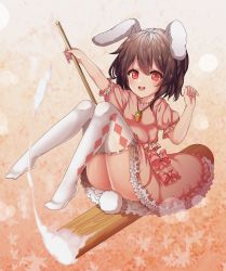 1girl, :d, animal ears, brown hair, bunny ears, bunny tail, floppy ears, full body, highres, inaba tewi, kine, kinos (kw00789), leaf, leaf background, mallet, maple leaf, open mouth, orange background, red eyes, ribbon-trimmed legwear, ribbon trim, riding, short hair, smile, solo, tail, thighhighs, touhou, white legwear