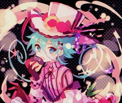 1girl, aqua eyes, aqua hair, bangs, bow, character request, cherry, coat, cream, cream on face, doughnut, eating, food, food on face, fruit, gloves, hair between eyes, hair bow, hat, hibi89, holding, long sleeves, looking at viewer, merc storia, off-shoulder coat, open mouth, pink bow, red gloves, ribbon, shirt, short hair, solo, striped, striped shirt, top hat, vertical-striped shirt, vertical stripes, white coat, white headwear