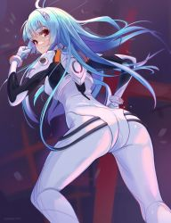 Rule 34 | 1girl, arm up, ass, ayanami rei, blue hair, bodysuit, breasts, evangelion: 3.0+1.0 thrice upon a time, expressionless, from behind, gloves, hair ornament, hairclip, long hair, looking at viewer, looking back, neon genesis evangelion, plugsuit, rebuild of evangelion, red eyes, solo, thighs