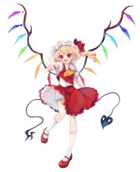 1girl, :d, absurdres, ascot, bangs, blonde hair, bloomers, bow, crystal, eyebrows visible through hair, flandre scarlet, foreshortening, frilled shirt collar, frills, full body, garan co, hat, hat bow, highres, holding, holding polearm, holding weapon, kneehighs, laevatein, looking at viewer, mary janes, mob cap, one side up, open mouth, petticoat, polearm, puffy short sleeves, puffy sleeves, reaching out, red bow, red eyes, red footwear, red skirt, red vest, shirt, shoes, short hair, short sleeves, simple background, skirt, skirt set, smile, solo, standing, standing on one leg, swept bangs, touhou, underwear, vest, weapon, white background, white bloomers, white headwear, white legwear, white shirt, wind, wind lift, wings, wrist cuffs, yellow neckwear
