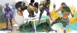 1boy, apex legends, bean bag, black headwear, blue eyes, character name, cropped vest, headwear removed, helmet, helmet removed, highres, holding, holding syringe, iwamoto zerogo, laughing, leaning forward, looking down, looking up, lying, mask, mechanical legs, mouth mask, multiple views, octane (apex legends), on back, on stomach, open hands, prosthesis, prosthetic leg, selfie stick, shirt, spanish text, syringe, v, vest, white shirt