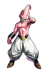 1boy, abs, absurdres, artist name, baggy pants, black sclera, boots, colored sclera, colored skin, demon, dragon ball, dragon ball fighterz, dragonball z, evil grin, evil smile, full body, grin, highres, kid buu, looking at viewer, majin buu, male focus, muscular, no humans, official art, open mouth, pants, pink skin, realistic, red eyes, smile, solo
