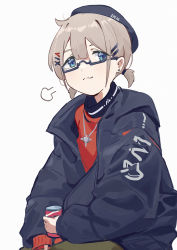 1girl, absurdres, ahoge, black headwear, black jacket, blue eyes, breath, can, canned coffee, character request, commentary request, copyright request, earrings, glasses, grey hair, hair ornament, hairclip, highres, holding, holding can, jacket, jewelry, necklace, red shirt, semi-rimless eyewear, shirt, short hair, short twintails, simple background, sitting, smug, solo, stud earrings, twintails, under-rim eyewear, white background, x hair ornament, xiukukkii