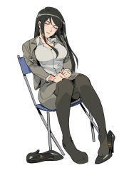 1girl, black footwear, black hair, black legwear, breasts, chair, collared shirt, copyright request, director's chair, dutch angle, eyes closed, feet, formal, grey shirt, grey skirt, hands on lap, head tilt, high heels, highres, large breasts, long hair, miniskirt, on chair, pantyhose, parted lips, ruukii drift, shirt, shoes removed, simple background, sitting, skirt, skirt suit, sleeping, sleeping upright, solo, suit, taut clothes, taut skirt, white background, wing collar
